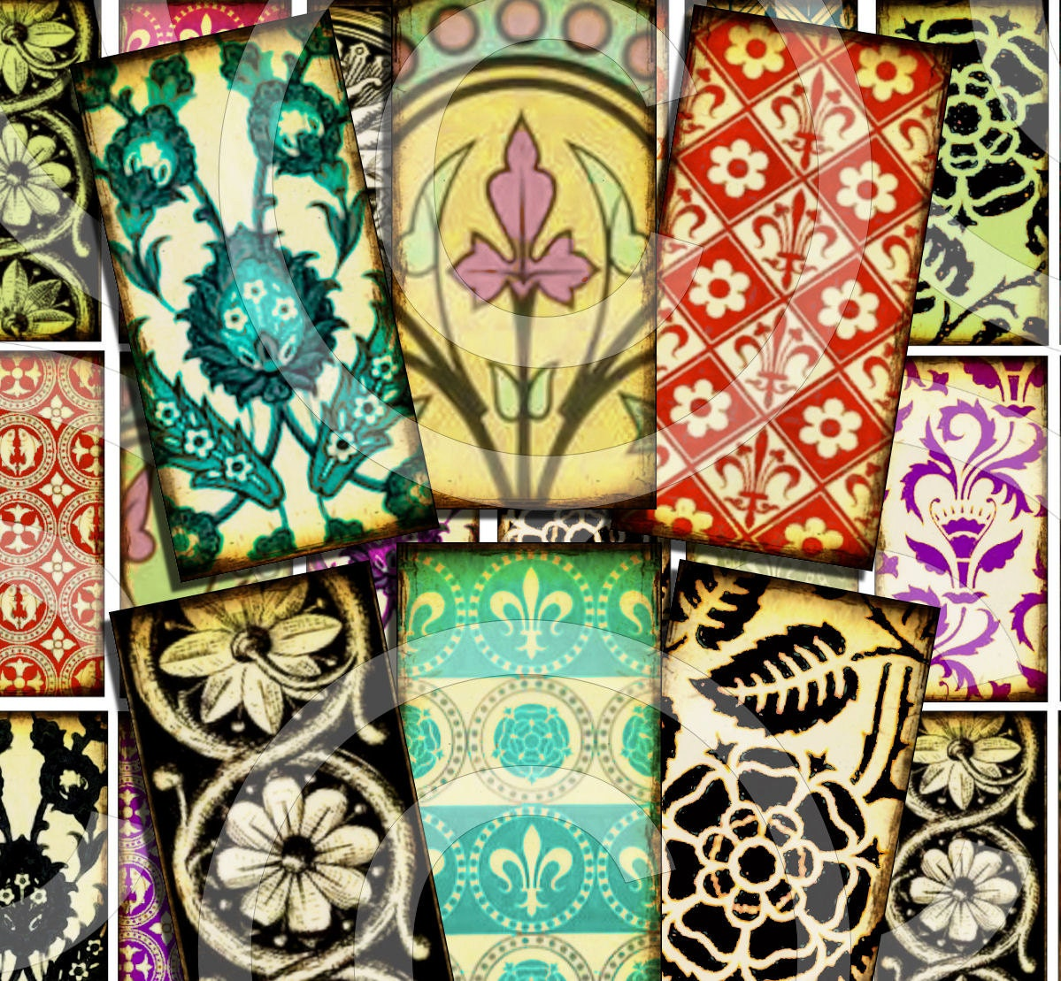Assorted variety antique wallpaper designs 1 x 2 inch domino for Vintage wallpaper designs