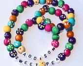 Spring Flowers Wood Beaded Personalized Necklace and bracelet girls size set