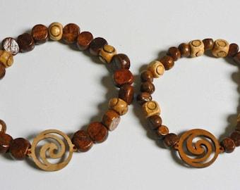 Matching set of Mens and Womens Yin Yang Spiral Wood Beaded Bracelets