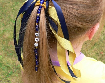 Personalized Ponytail Holder Ribbon Hair Tie Bow NAME SPORTS Team Soccer Cheer Dance NFL
