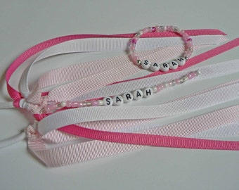MATCHING SET Pink Ribbon Personalized Ponytail Holder and Name Bracelet