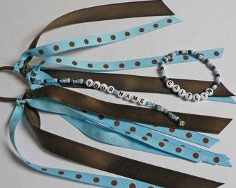 MATCHING SET Personalized Ponytail Holder and Bracelet Blue Brown Polka Dots Name Bracelet Custom