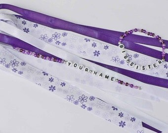 MATCHING SET Personalized Ponytail Holder and Bracelet - Purple Flowers, Purple Bracelet.