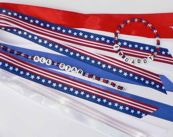 4th of July Independence Day PERSONALIZED Ponytail Holder and Bracelet - Red White and Blue Stars and Stripes Labor Day Parades Homecoming