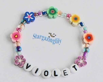 Children's Jewelry Bracelet PERSONALIZED Name Bracelet Party Favor Infant Baby Child Kid Toddler Flower Leis Luau