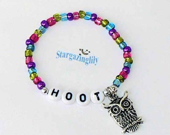 Children's Jewelry Bracelet PERSONALIZED Name Bracelet with OWL Charm Party Favor Infant Child Kid Toddler Adult Sizes