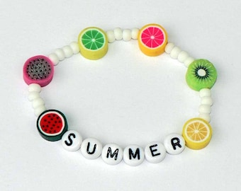 Summer Tutti Fruity Fruit Bracelet Name Bracelet PERSONALIZED Party Favor Infant Baby Child Kid Toddler Adult Sizes Watermelon Lemon Lime