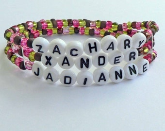 Mommy Bracelet Personalized Name Bracelet Children's Names colorful Beads Nursing Breast Feeding Reminder Hypoallergenic