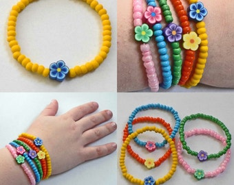 Little Girls Bracelet Dora inspired with Yellow beads blue flower Great Stocking Stuffer for Toddlers Preschoolers Kids and Children