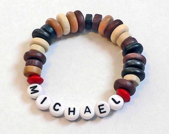 Valentine's Day Gift or Party Favor for Boys Personalized Name Bracelet Masculine wood beads with red Kids Child Size Preschool Toddler