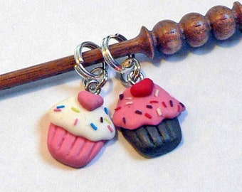 Cupcake Stitch Markers Set of 2 Colorful Chocolate & Vanilla Cute n Fun Clay Stitch markers Great Gift for a knitter