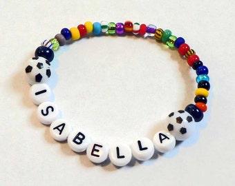 Soccer Ball Personalized Name bracelet Spirit Bracelet Boys & Girls Football Baseball Basketball Soccer Balls Party Favor Team Jewelry