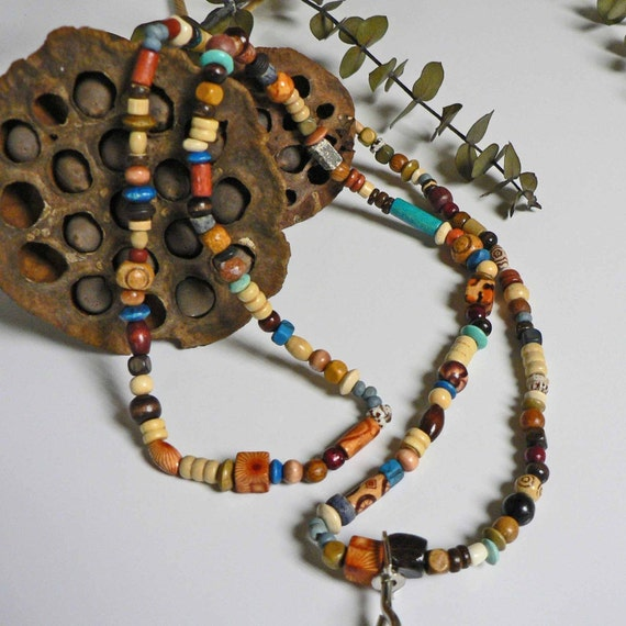Earthy and Natural Wood Beaded Lanyard Necklace Hypoallergenic with the exception of the hook