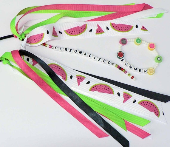 MATCHING SET Name Personalized Ponytail Holder and Bracelet - Watermelon Fruit Summer Set Pony tail streamer ribbon on o ring elastic