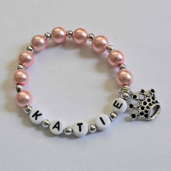 pink pearl and silver bracelet personalized name by
