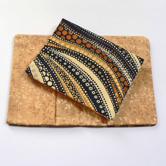 Business Card n Cash Holder Wallet Pouch Black Brown Tan and White Geometric Dots in Waves