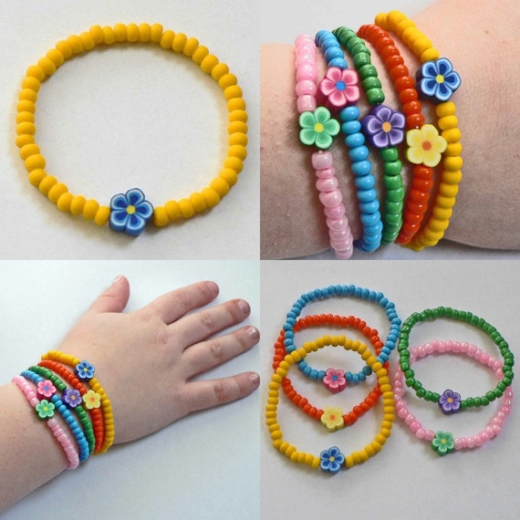 Little Girls Bracelet Dora inspired with Yellow beads blue flower Great Stocking Stuffer for Toddlers Preschoolers Kids and Children