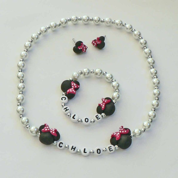 Mini Mouse Set of Jewelry Name Bracelet Personalized Necklace Hypoallergenic Children Toddler Kids mini black mouse ears polka dot Bows