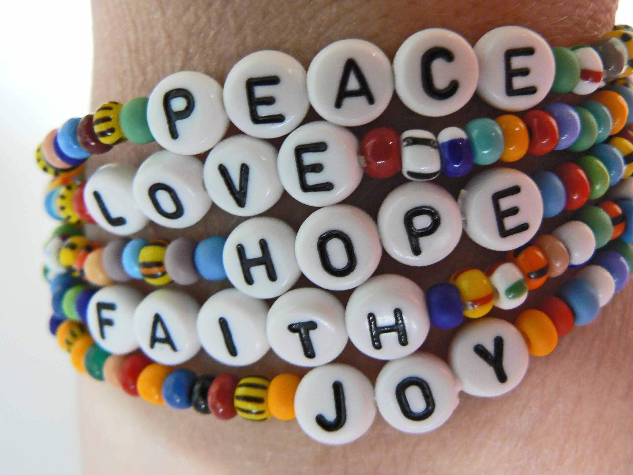 Love Peace Quotes Words To Livejoy Peace Love Hope Faith Beaded Bracelets