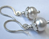 Sterling Silver Pearl Blossom Earrings