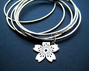 Sterling Silver Sakura No.3 Charmbangle