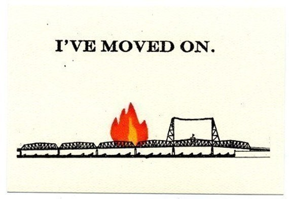 Burning Bridge cards--set of five