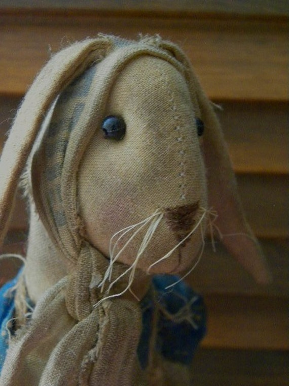 Very Primitive Spring Brown Rabbit Bunny Hare Dirty Grungy Stained Blue Makedo Doll by Mustard Seed Originals PAFA TDIPT PFATT