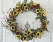 Sunflower and Red Berry Wreath Front door wreath Wall Wreath