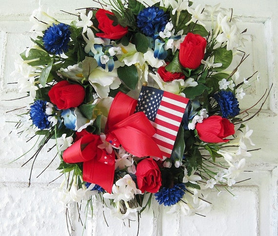 Patriotic Wreath Front Door Red White And By Gigisgiftsandwreaths