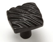 "1"" Diagonal Textured Knob 0416 - Wrought Iron Cabinet Hardware - iron pulls - hand forged - door pulls - decorative hardware - blacksmith"