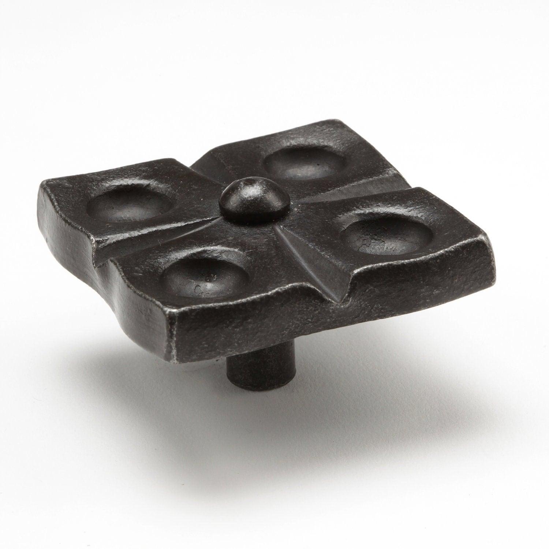 2 flower pattern knob wrought iron cabinet knobs iron for Wrought iron cabinet pulls