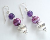 Amethyst Sterling Silver Freshwater Pearl Earrings