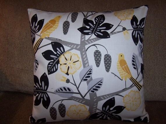Free US Shipping-Designer White black yellow gray 18x18 Pillow Cover