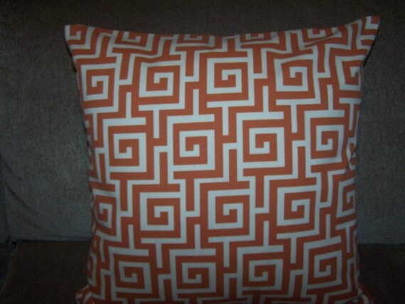 One Greek Maze Designer Orange and Cream 16 X 16 Pillow Cover