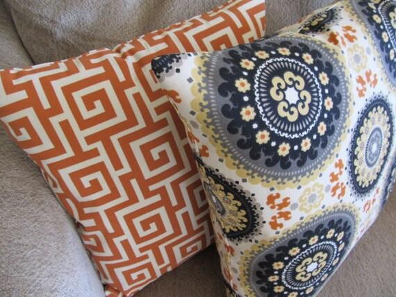 Free US Shipping-One suzani Designer Orange, Yellow, Black, Grey and Cream 18 X 18 Pillow Cover