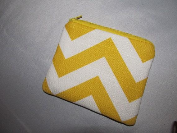 Yellow And White designer Zig Zag Zipper Pouch Card holder