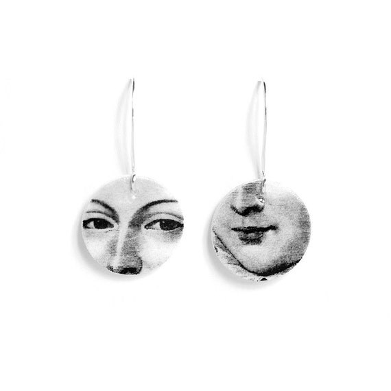Face Earrings in Black and White - Illustration Jewelry