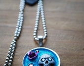 Day of the Dead necklace Blue shimmer