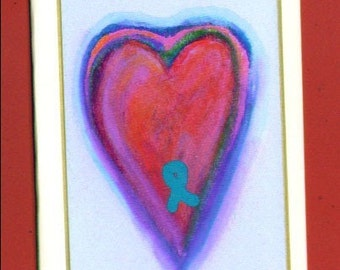 Teal Heart Ovarian Cancer Awareness Note Card