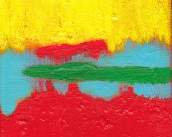 SALE Red Yellow Blue Green Contemporary Abstract Art Painting - Are You Listening 4 x 4 inches