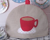 Teapot Cozy - red teacup - medium