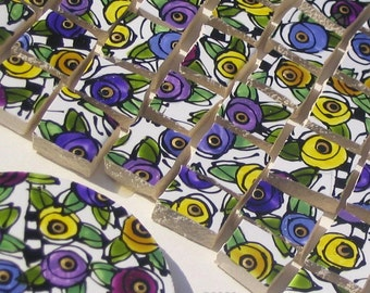 Mosaic Tiles, HP, Hand Painted, Maize and Purple Posies