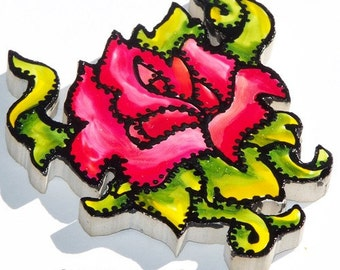 Tattoo-style Tile, Mosaic Tiles, Hand Painted, Rose, Ed Hardy Style