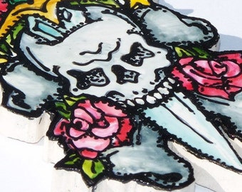 Tattoo-style Tile, Mosaic Tiles, Hand Painted, Daggar, Skull, Crossbones, Roses, Ed Hardy style