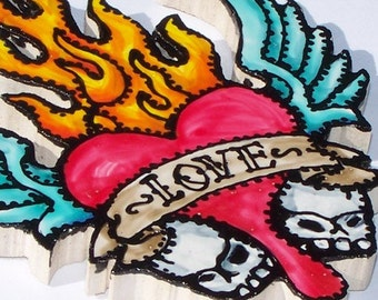 Tattoo-style Tile, Mosaic Tiles, Hand Painted, Skulls, Flames, Heart, Wings, Ed Hardy style