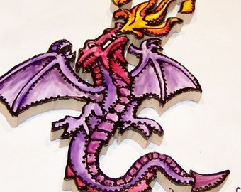 Tattoo-style Tile, Mosaic Tiles, Hand Painted, Fire Breathing Dragon