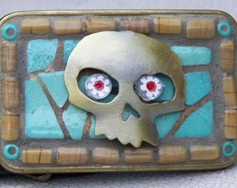 Mosaic Belt Buckle, Skull, Antiqued Brass, Turquoise, Tan