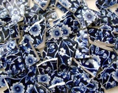 Mosaic Tiles Vintage Cupboard Calico English Blue Chintz Plate Pieces