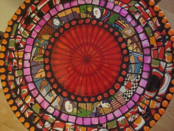 Metropolitan Art Deco Retro Table Mosaic Tile Red Focal