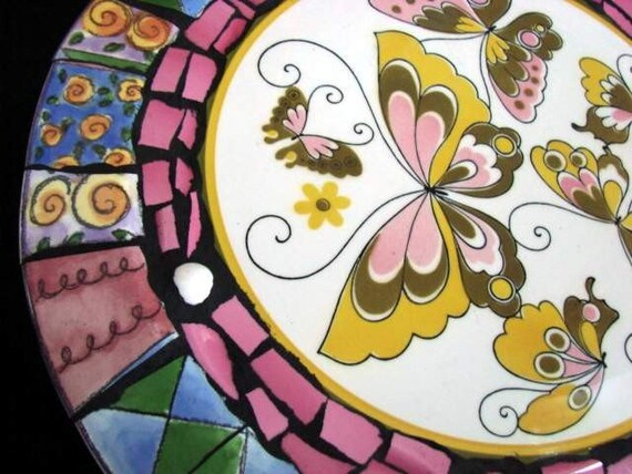 Pink Butterfly Mosaic Table Stool Sue Zipkin Colorful ART